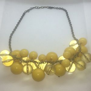 Yellow Bead Lucite Chain Necklace